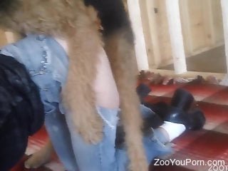 Woman with pierced pussy, insane home zoophilia with her dog