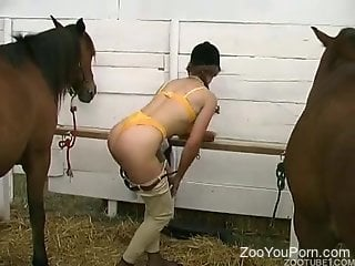 Horsewoman with a hot pussy gets fucked by a stallion