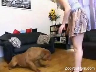 Curvy blonde moans with the dog between her legs