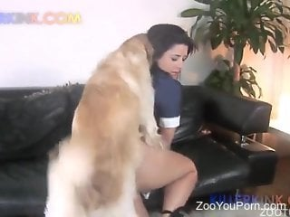 Brunette shows her bubble butt and fucks a dog